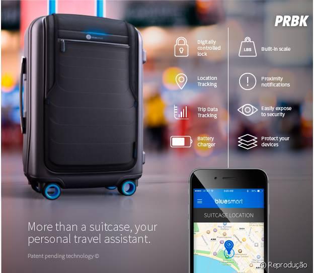 A mala inteligente BlueSmart recarrega seu celular e tem sensor de localização