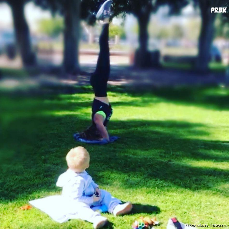 Anahi volta e meia mostra sua rotina com o filho, Manuel