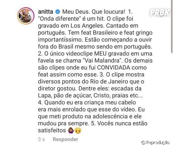 Anitta responde críticas do seguidores sobre apropriação cultural