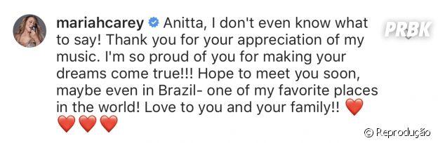 Anitta recebe comentário de Mariah Carey em publicação do Instagram