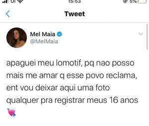 Mel Maia apaga lomotif de aniversário após polêmica