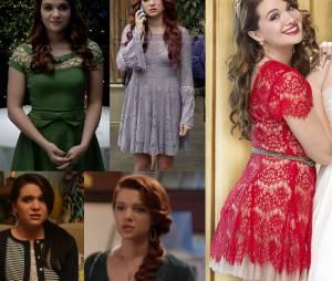 """Nas festas de """"Faking It"""", Karma (Katie Stevens) gosta de se diferenciar da multidão, seja com vestidos diferenciados, seja com penteados mirabolantes"""