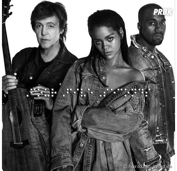 """Vem mais uma música viciante aí! Veja """"FourFiveSeconds"""", parceria da Rihanna com Sir Paul McCartney e Kanye West!"""