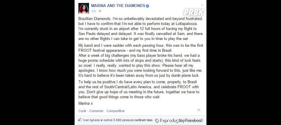 Marina and Diamonds fez questão de pedir desculpas aos fãs brasileiros no Facebook por cancelar show no Lollapalooza 2015