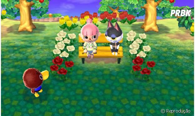 """Printscreen de """"Animal Crossing: New Leaf"""" com um casal passando um momento fofo no banquinho"""