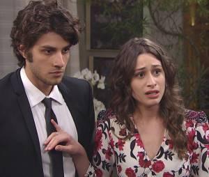 """Ao lado de Rafael (Chay Suede), Laís (Luisa Arraes) faz grande revelação para os convidados em """"Babilônia"""""""
