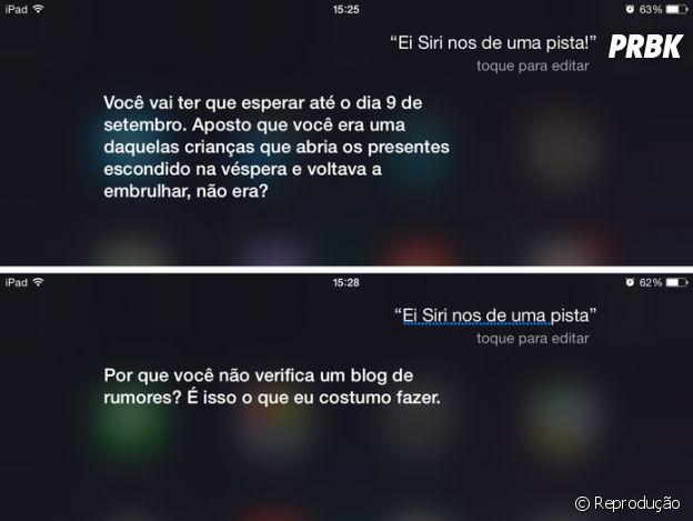 Quando perguntada sobre o iPhone 6s, Siri pede que esperem até 09 de setembro