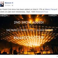 Maroon 5 no Brasil: Show extra em São Paulo é anunciado pela banda após sucesso de vendas!
