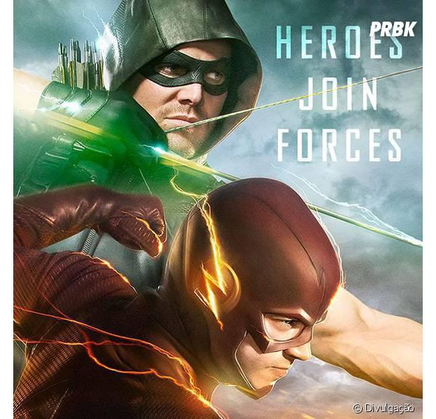 """Séries """"Arrow"""" e """"The Flash"""" ganham pôster para crossover com Oliver (Stephen Amell) e Barry (Grant Gustin)!"""