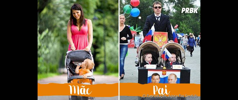 A maneira como as mães e os pais passeiam também é diferente