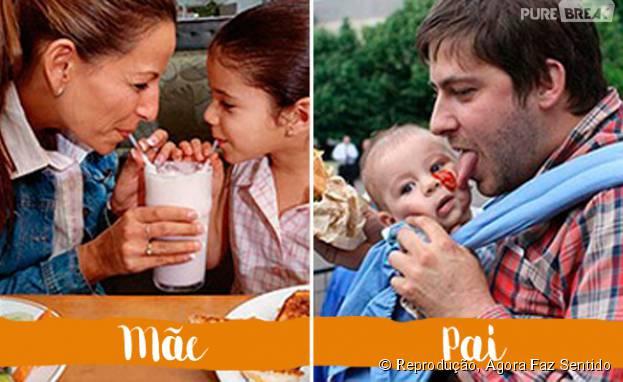 As mães dividem comida com os filhos, já os pais... Fazem do jeitinho que eles sabem, né?