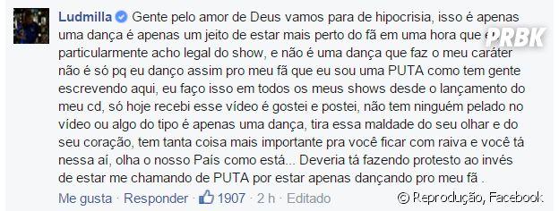 Ludmilla responde fãs no Facebook após vídeo polêmico