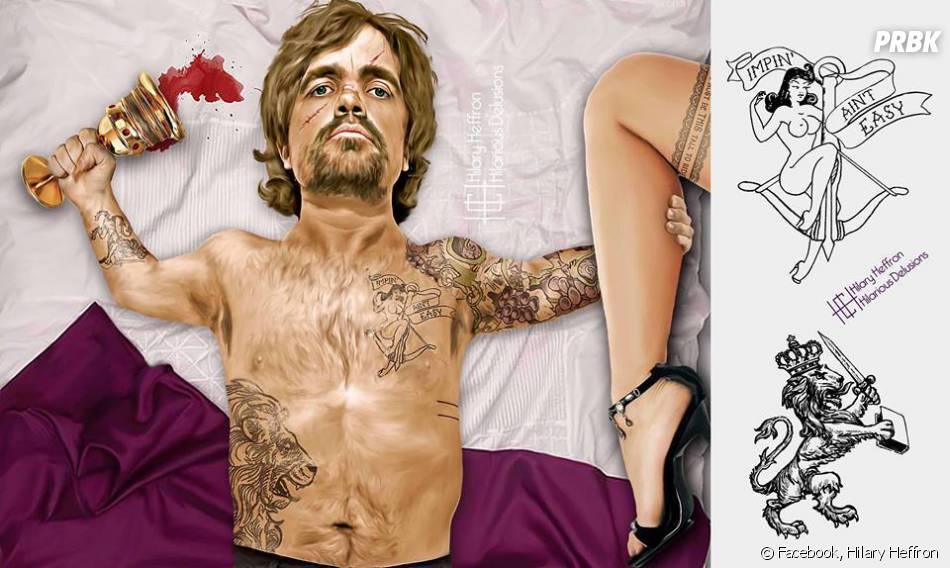 """Tyrion Lannister (Peter Dinklage), de """"Game of Thrones"""" sensualizando com as suas tatuagens!"""