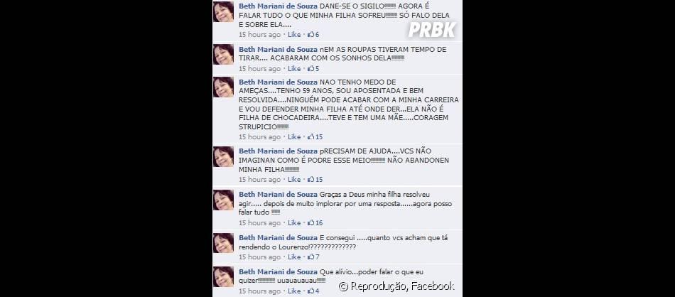 Mãe de Ani Monjardim, do Girls, desabafa sobre a situação da filha no Facebook