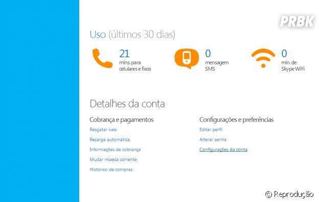 Detalhes de conta: Configurações e preferências > Configurações da conta