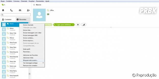 Clique com botão direito sobre o contato > bloquear contato