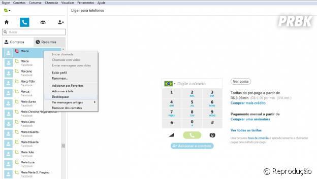 Clique com o botão direito sobre o contato bloqueado > Desbloquear