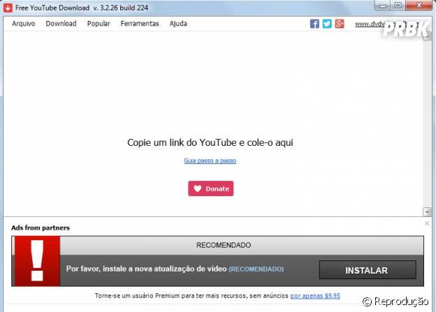 "Página do programa ""Free YouTube Download"""