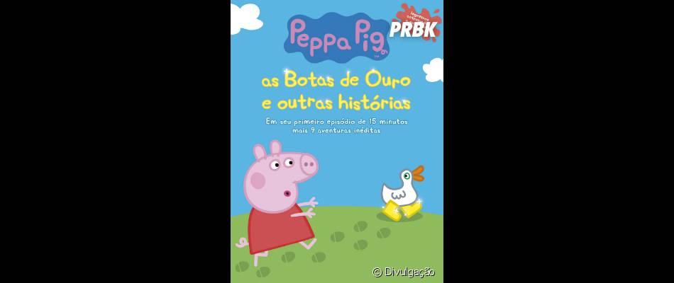 """""""Peppa Pig - As Botas de Ouro e Outras Histórias"""" é uma coletânea de vários curtas da porquinha mais querida pelas crianças"""