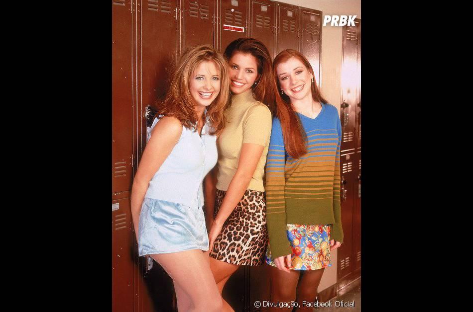 """Alyson Hannigan (última a direita) deu vida à Willow em """"Buffy: A Caça Vampiros"""""""