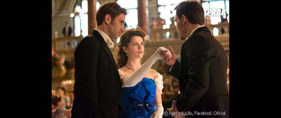"""Personagem de Jonathan Rhys Meyerse encanta pela jovem Mina (Jessica DeGouw)quando a conhece em """"Dracula"""""""