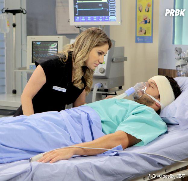 """Em """"Cúmplices de um Resgate"""", Otávio (Duda Nagle) acorda do coma e deixa Rebeca (Juliana Barone) feliz!"""