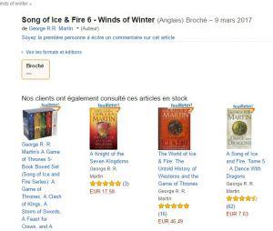 """Sexto livro de """"Game of Thrones"""" ganha possível data de lançamento no site da Amazon da França"""