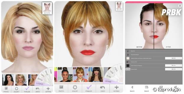 No app Makeup além de colocar maquiagem você ainda pode mudar o cabelo