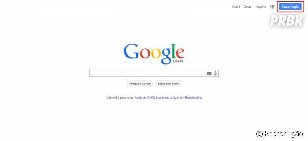 """Clique em""""Fazer Login"""" para criar sua conta Google"""