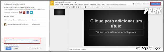 """Permita que outros usuários editem o documento clicando em """"Compartilhar"""""""