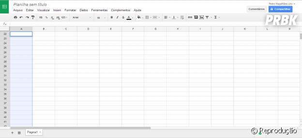 Aproveito o serviço gratuito do Google Drive para aprender a usar a planilha