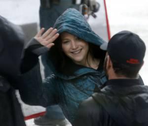 "Jennifer Lawrence no set ""Jogos Vorazes - A Esperança"""