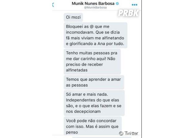 """Munik Nunes explica porque fez uma """"limpa"""" no Twitter"""