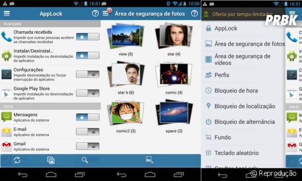 """""""AppLock"""" permite que você salve fotos e vídeos em uma pasta separada e protegida por senha"""