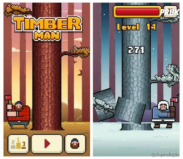 """Corte árvores e ganhe pontos no game """"Timberman"""""""