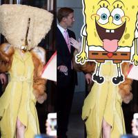 Lady Gaga aparece com vestido bizarro na Alemanha! Seria fantasia do Bob Esponja?