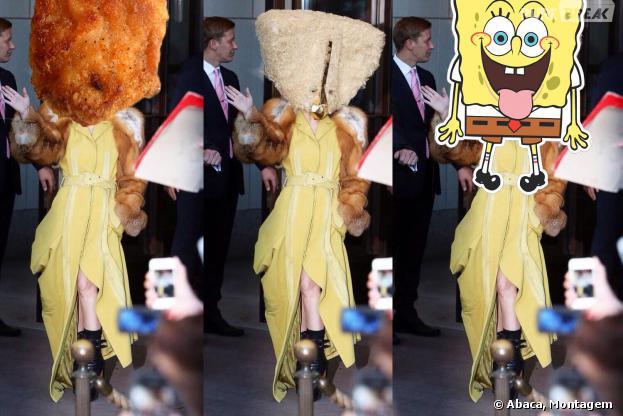 Lady Gaga surpreende imprensa ao deixar hotel em Berlim, na Alemnha com look esquisitão, nesta quinta-feira, 24 de outubro de 2013