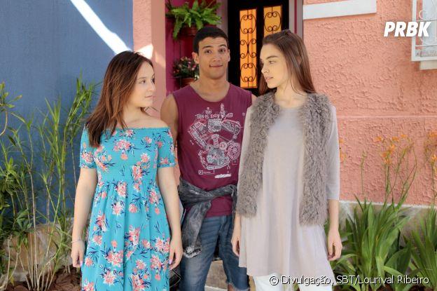"Em ""As Aventuras de Poliana"", Guilherme (Lawrran Couto) será disputado pelas amigas Raquel (Isabella Moreira) e Mirela (Larissa Manoela)"