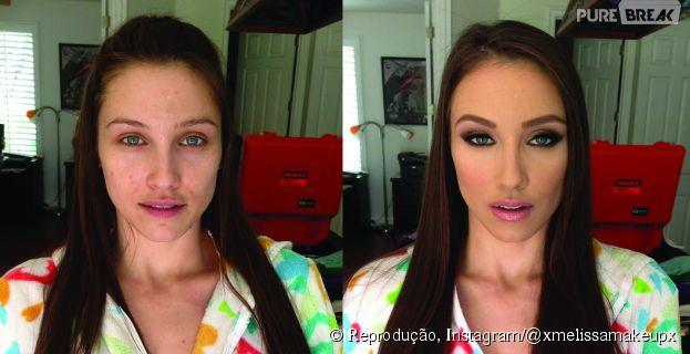 Antes e depois da maquiagem. Que diferença, hein?