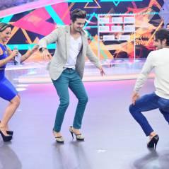 Luan Santana aprende a andar de salto alto com Sabrina Sato e Marcos Mion