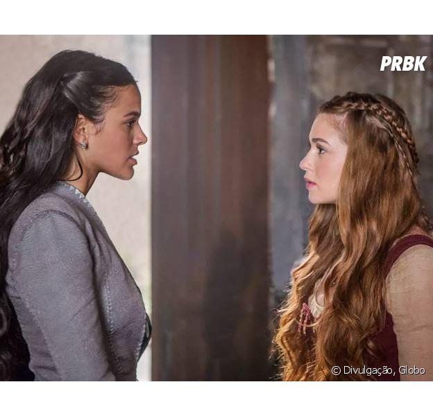 "Em ""Deus Salve o Rei"": Amália (Marina Ruy Barbosa) prepara armadilha para pegar Catarina (Bruna Marquezine)"