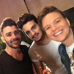 Luan Santana, Michel Teló e Gusttavo Lima fazem selfie e mostram topetões