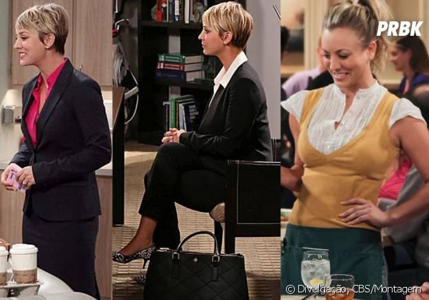"""A Penny usava um uniforme feinho quando trabalhava na Cheesecake Factory, agora como assistente ela usa terninhos super estilosos em """"The Big Bang Theory"""""""