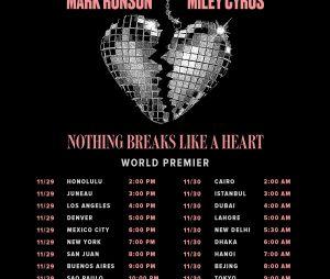 "Miley Cyrus divulga data e hora do lançamento de ""Nothing Breaks Like A Heart"""