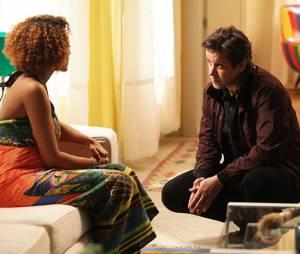 """Na novela """"Geração Brasil"""", Jonas (Murilo Benício) descobre que é o pai dos filhos de Verônica (Taís Araújo) e se declara para a amada"""