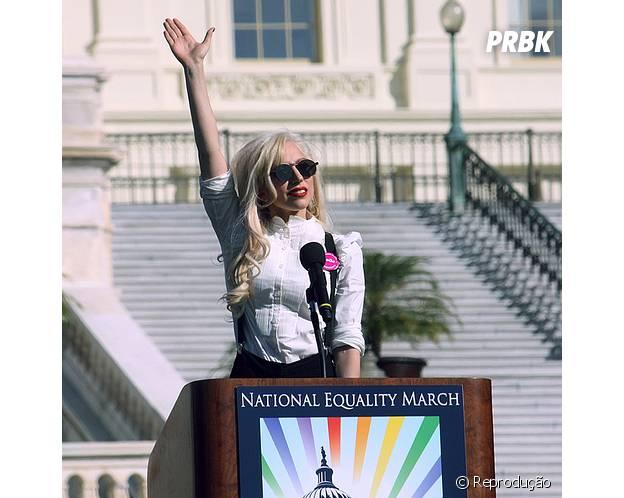 Lady Gaga é a favor da igualdade entre homens e mulheres e já participou de eventos ativistas