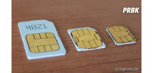 Os três tamanhos de SIM cards adaptados pela Apple ao longo do tempo