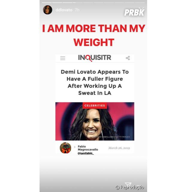 """Demi Lovato responde jornalista nos Stories: """"Eu sou mais do que o meu peso"""""""