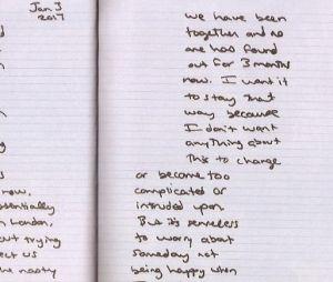 """O relacionamento da Taylor Swift com o Joe Alwyn ficou em segredo por bastante tempo. Nesta página, escrita em janeiro de 2017, ela diz """"Estamos juntos há 3 meses e ninguém descobriu"""""""