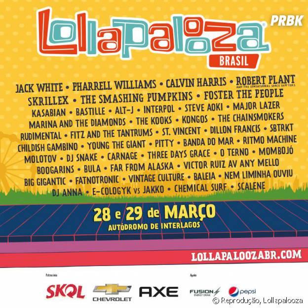 Jack White, Pharrell Williams, Calvin Harris, Bastille, Marina and the Diamonds, Robert Plant, Skrillexx e Foster The Peoples estão na edição de 2015 do Lollapalooza!